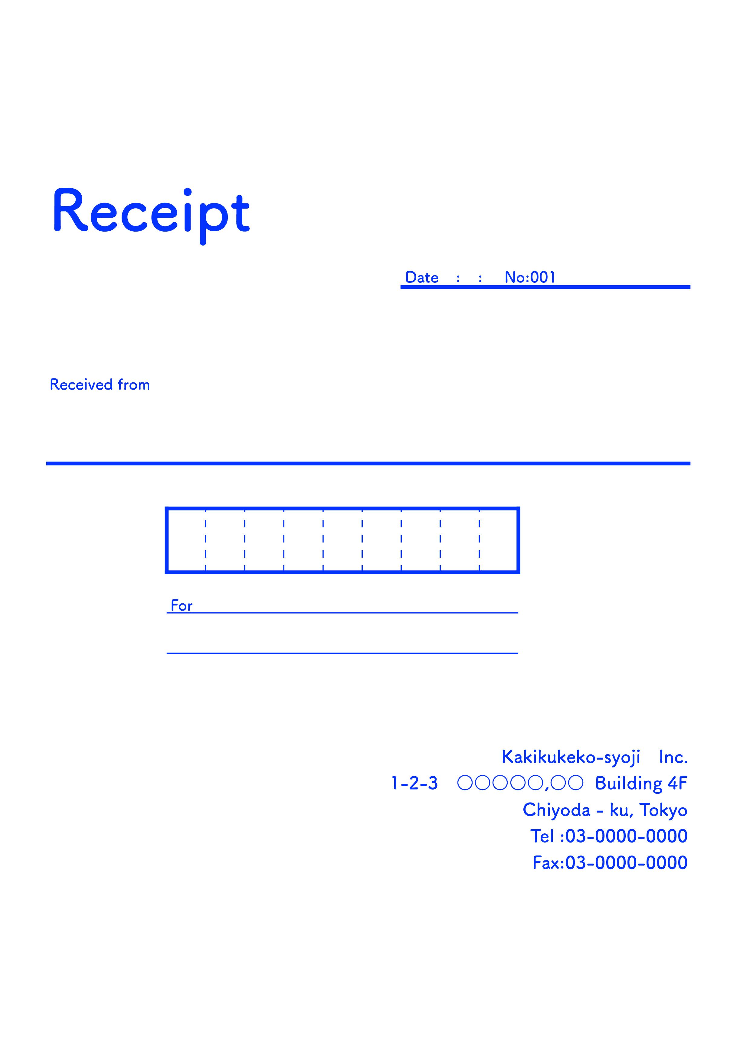 おしゃれな英字の領収書(Receipt)テンプレート(エクセル・ナンバーズ)A4 ブルー