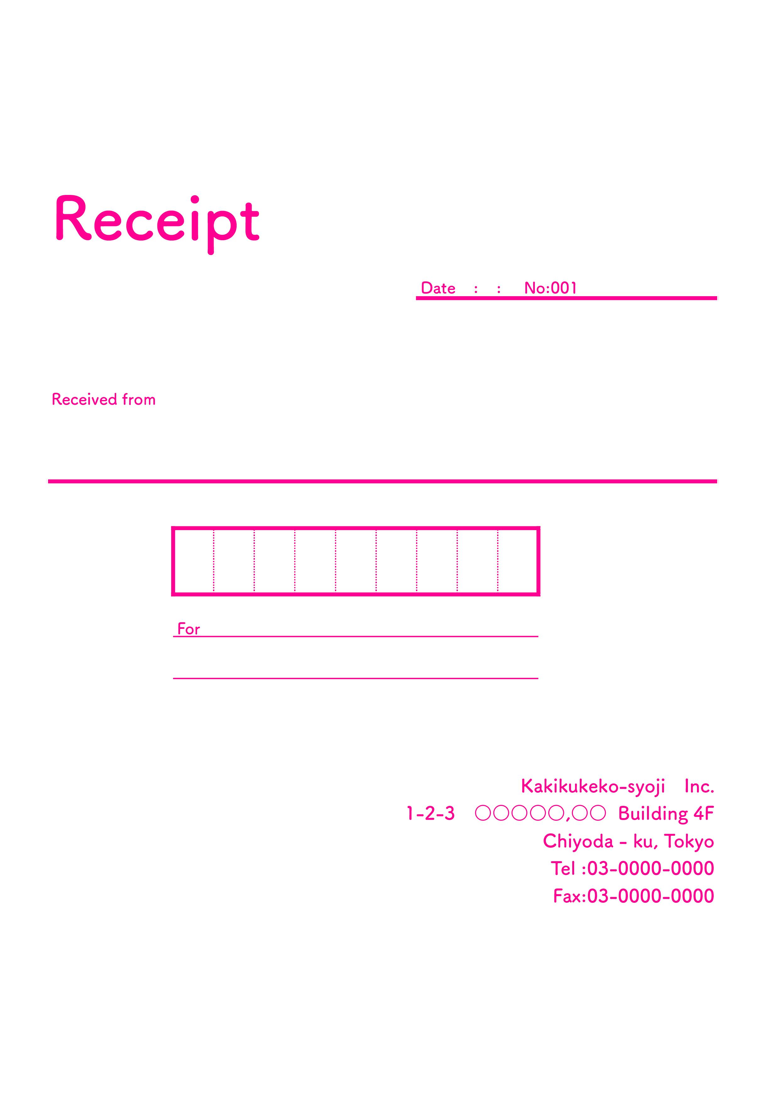 おしゃれな英字の領収書(Receipt)テンプレート(エクセル・ナンバーズ)A4 ピンク