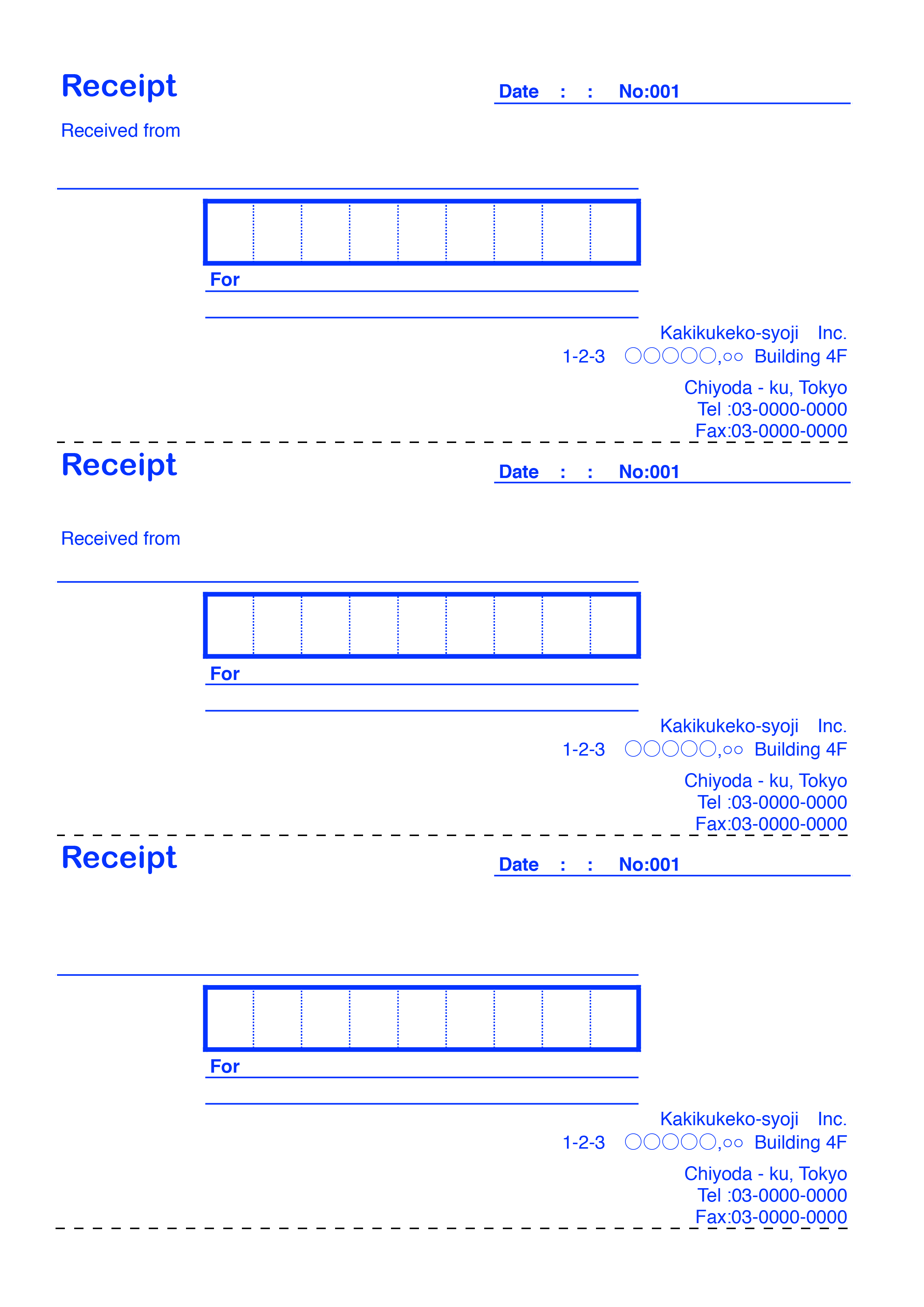 おしゃれな英字の領収書(Receipt)テンプレート(エクセル・ナンバーズ)3枚つづり ブルー