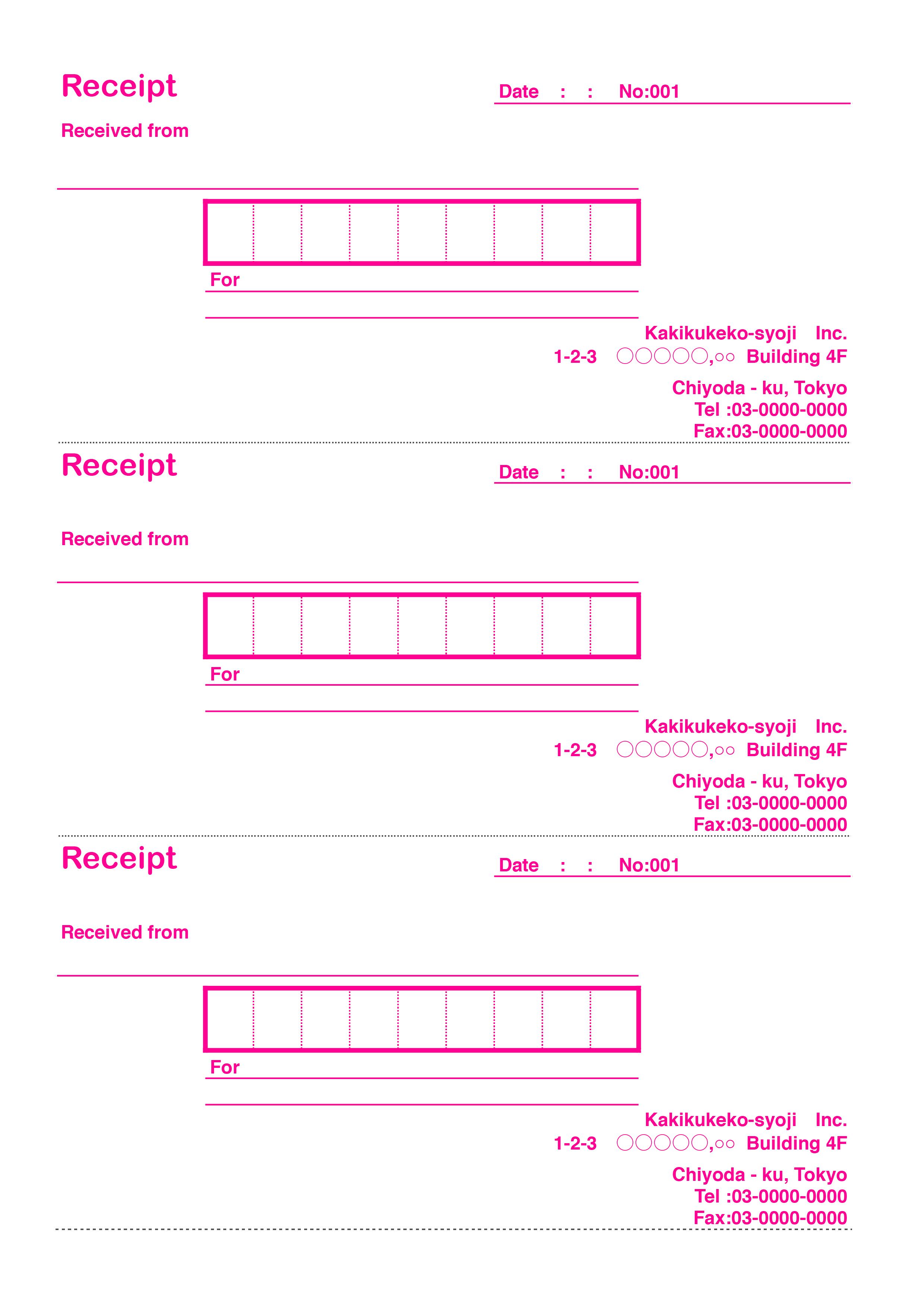 おしゃれな英字の領収書(Receipt)テンプレート(エクセル・ナンバーズ)3枚つづり ピンク