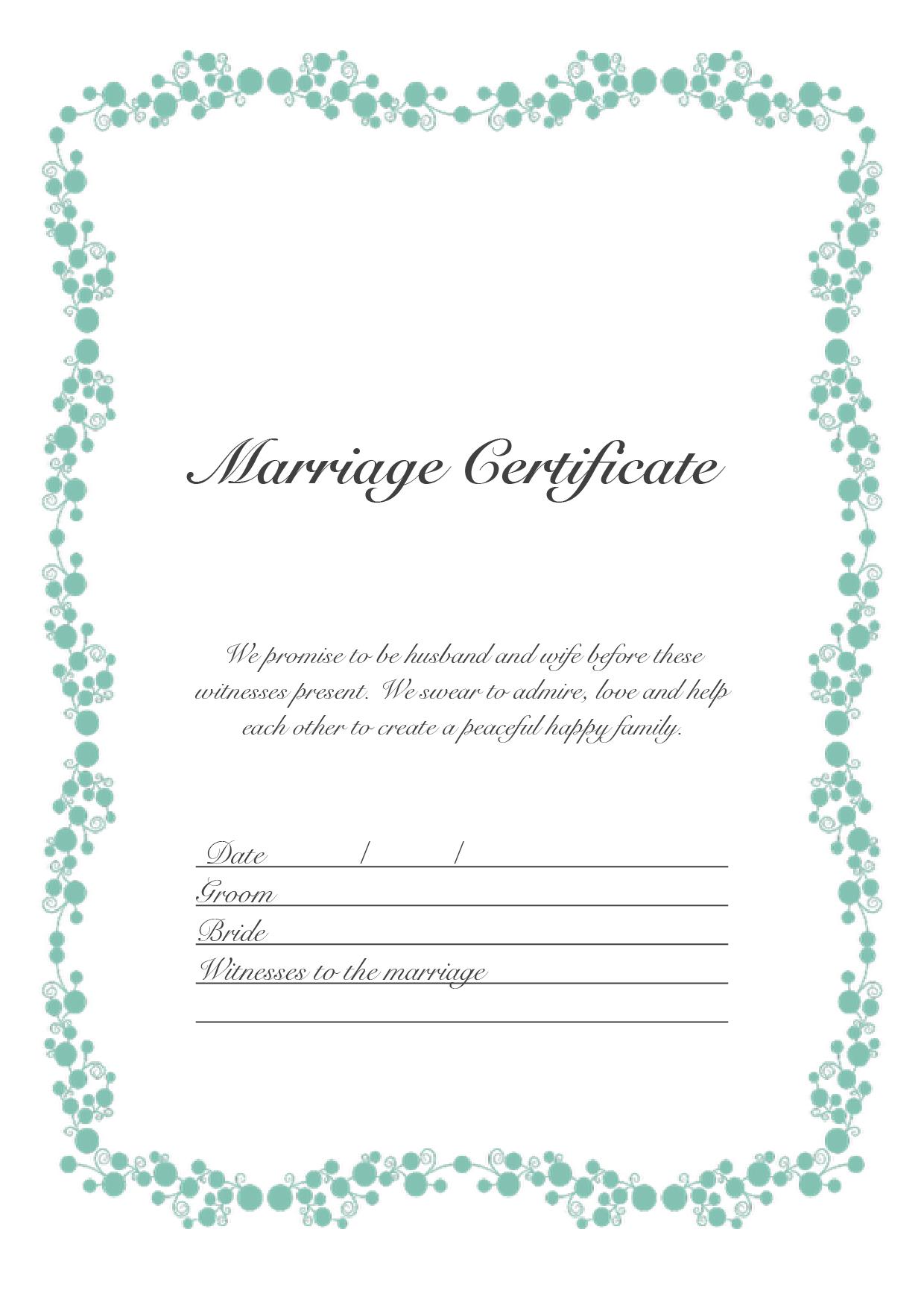 結婚証明書 英語テンプレート(ワード、ページズ)A4サイズ ガーリーグリーン