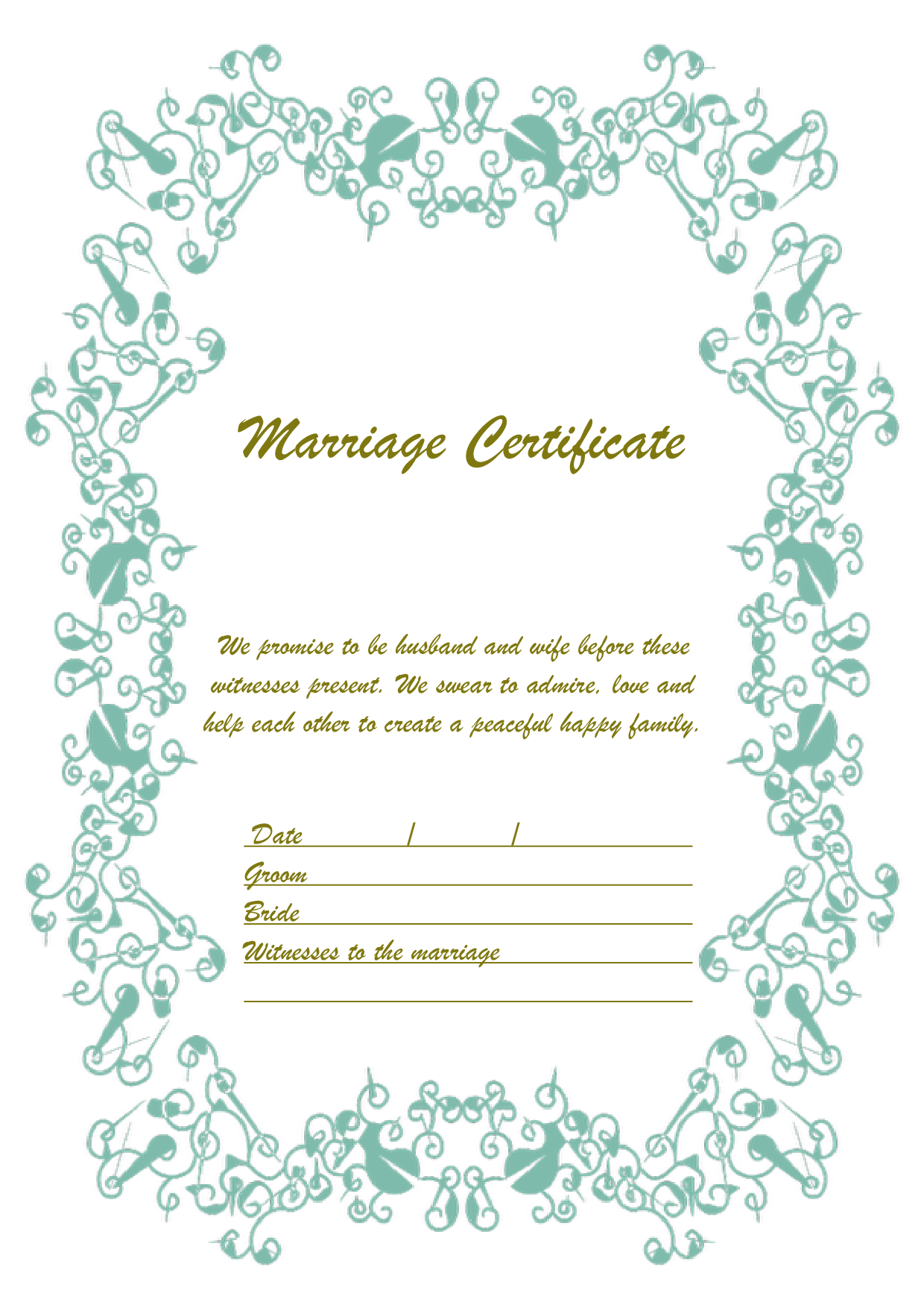 結婚証明書 英語テンプレート(ワード、ページズ)A4サイズ おしゃれグリーン