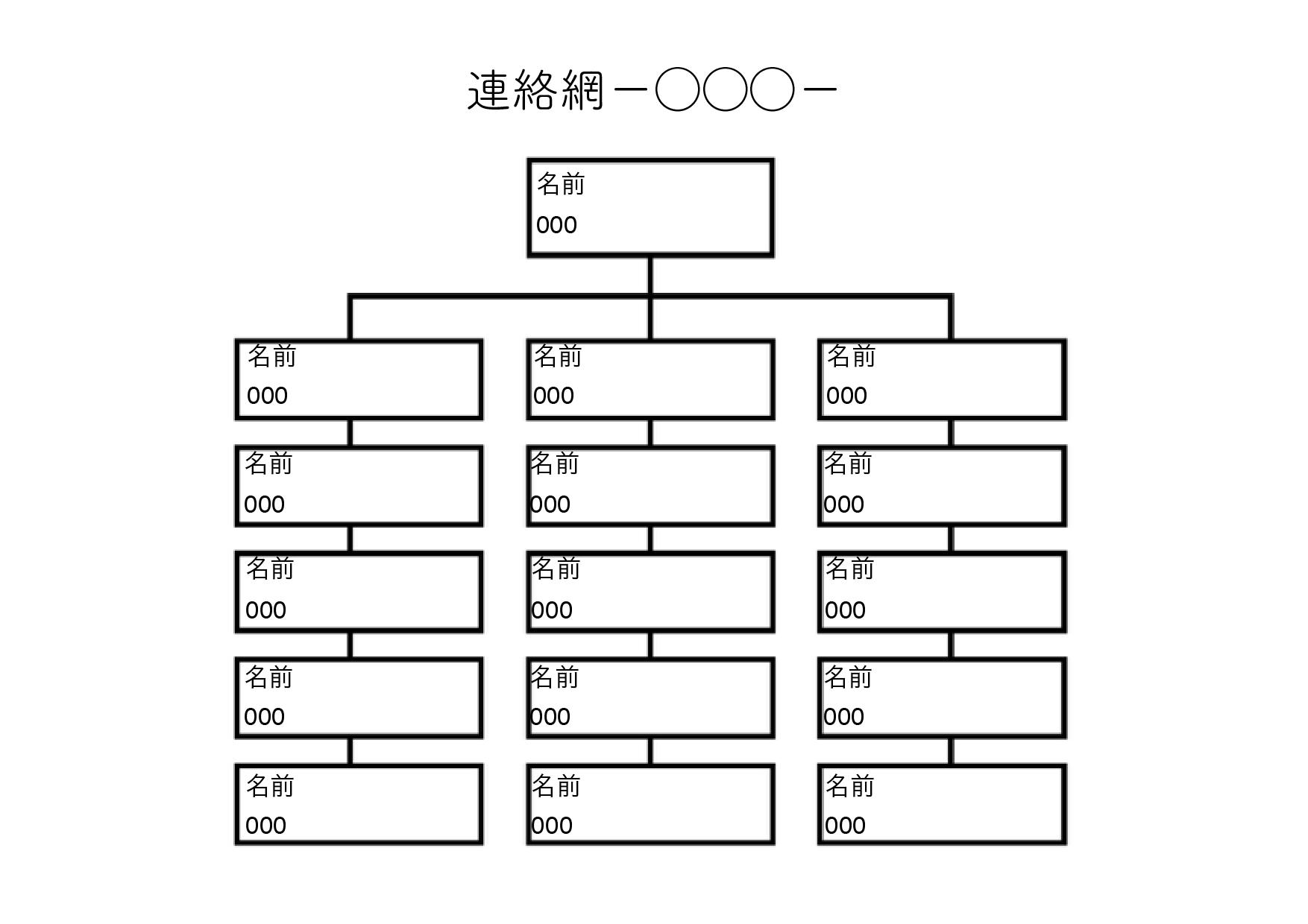 連絡網テンプレート(ワード・ページズ)基本の形 15人分+1人(大元)