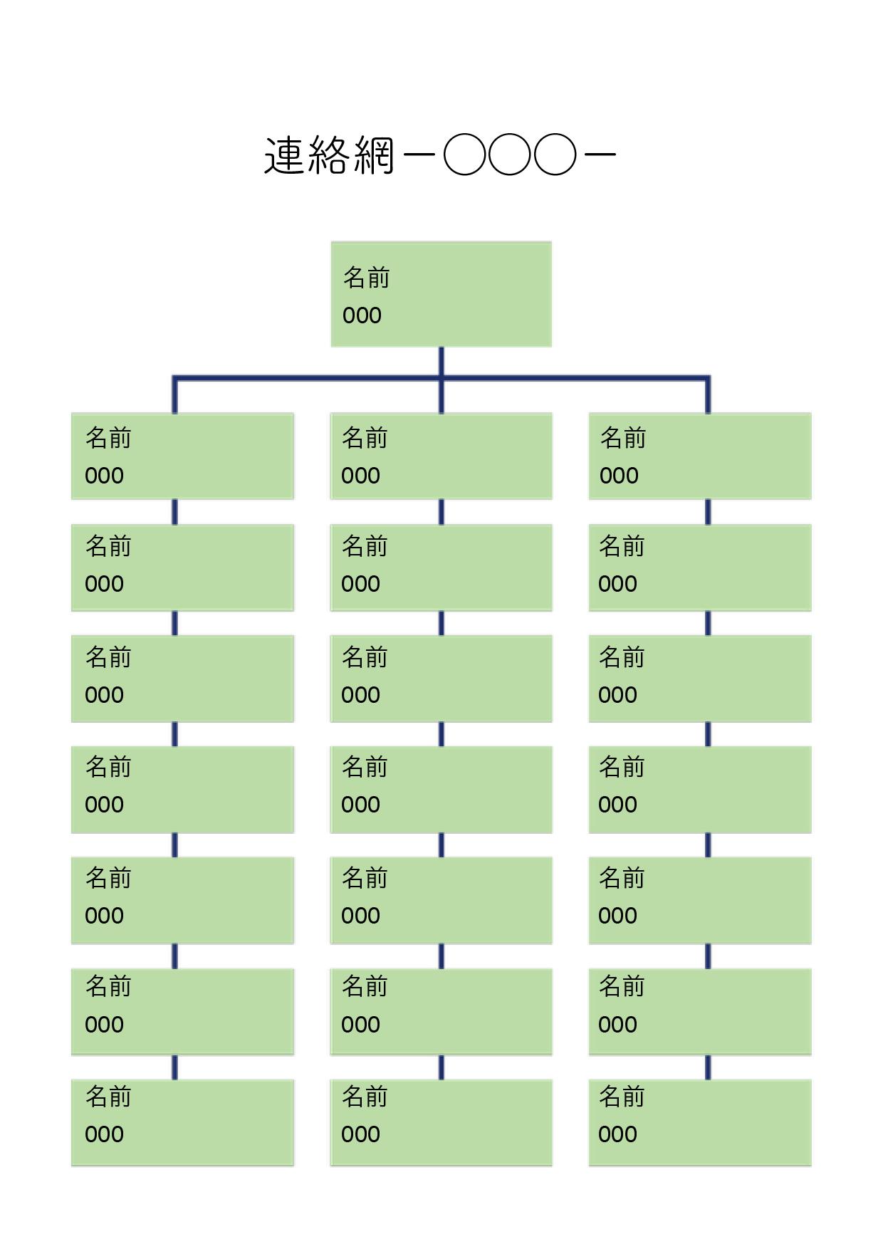 緊急連絡網 テンプレート(ワード・ページズ)21人分+1人(大元)グリーン