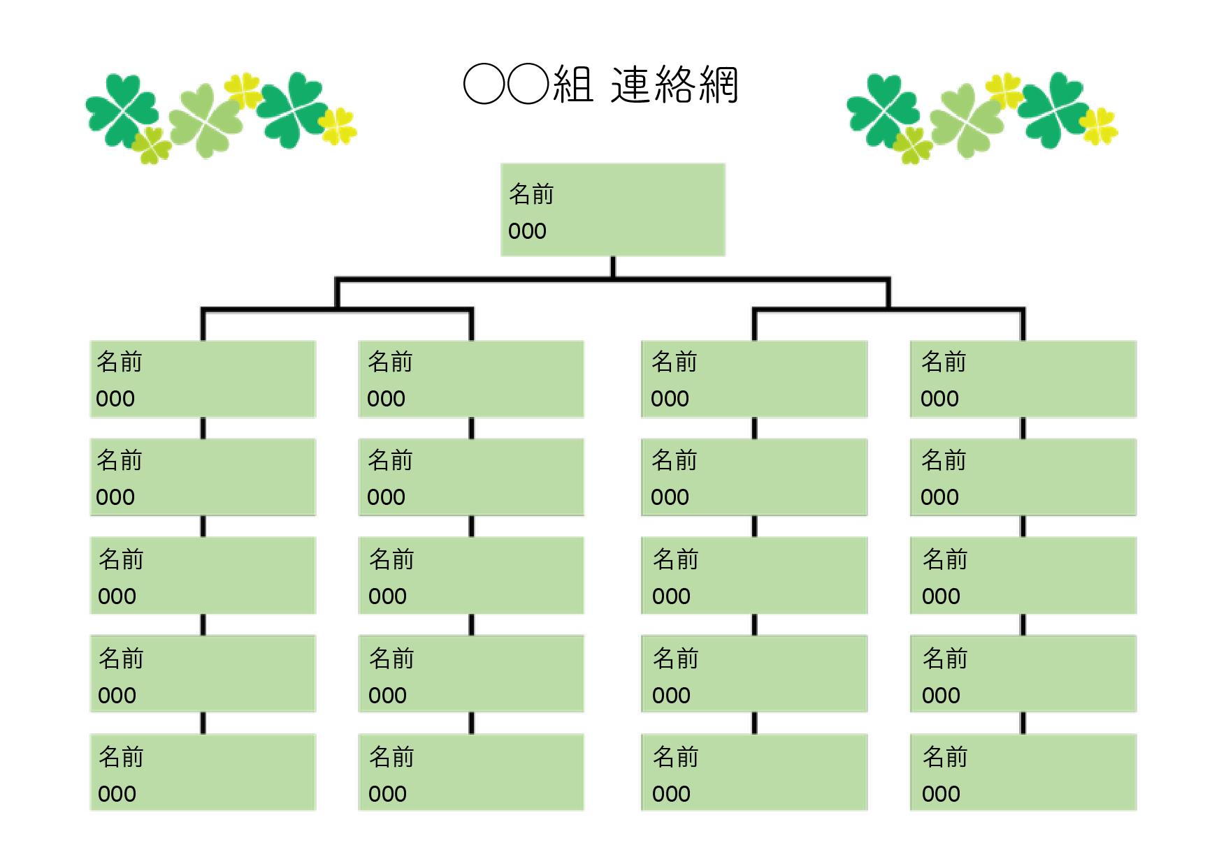 保育園・幼稚園用の連絡網 テンプレート 20人分+1人(大元)グリーン(ワード・ページズ)