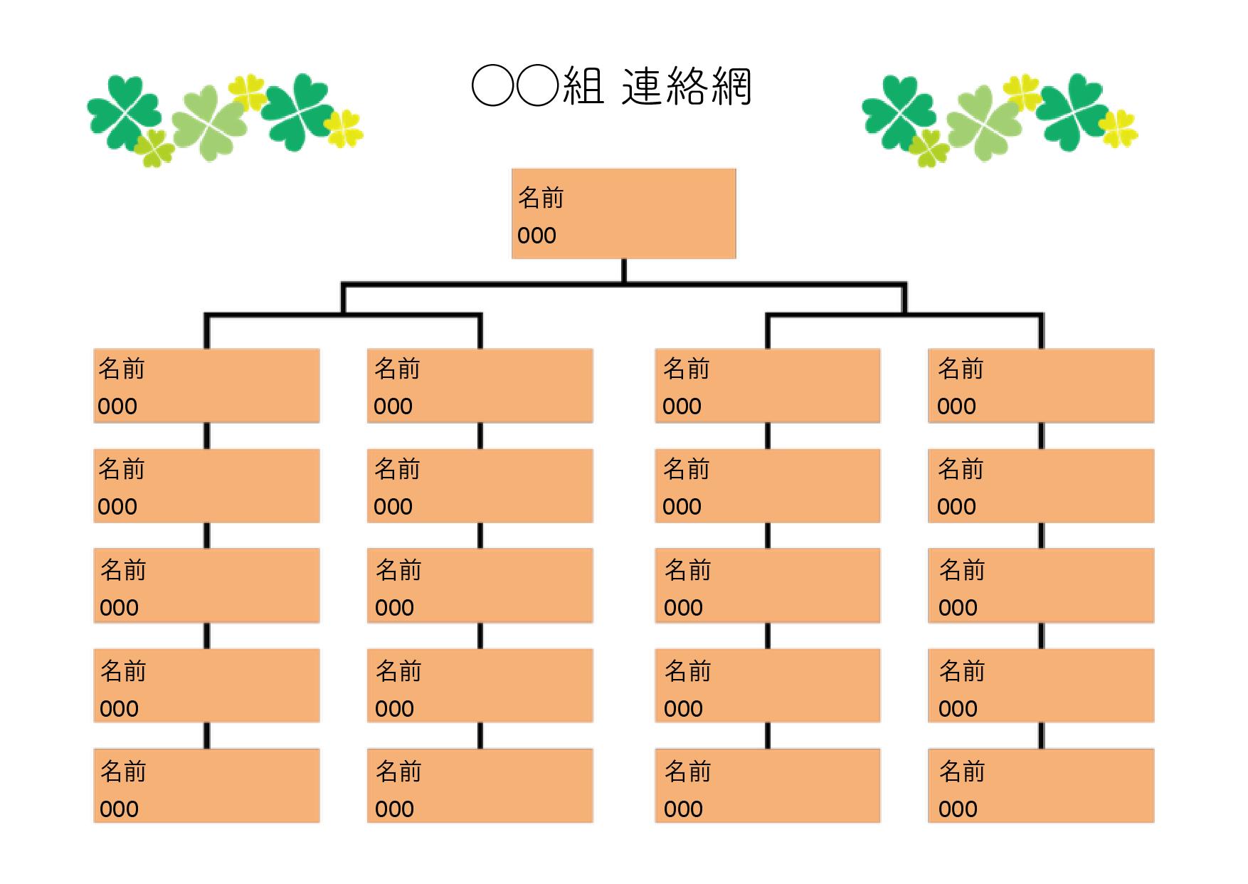 保育園・幼稚園用の連絡網 テンプレート 20人分+1人(大元)オレンジ(ワード・ページズ)