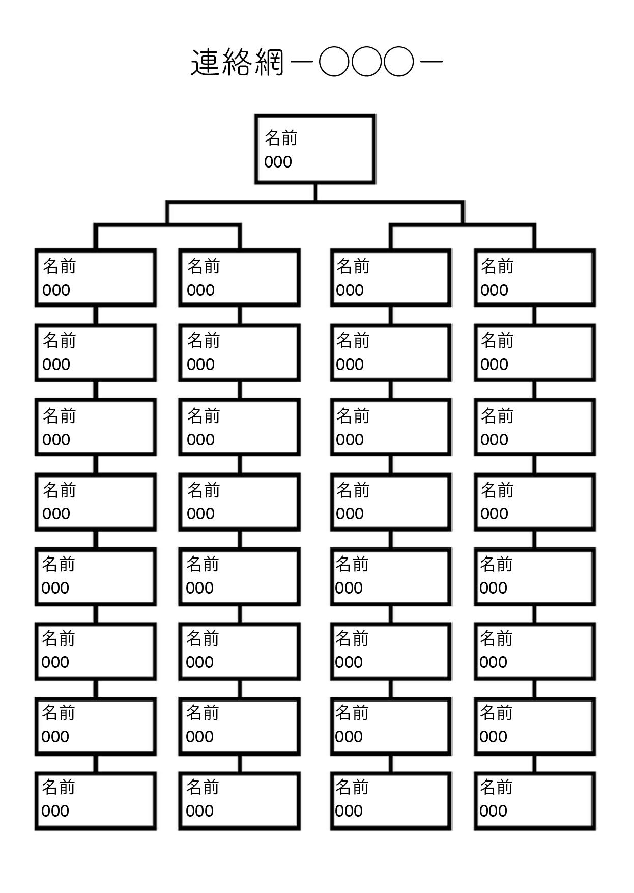 連絡網テンプレート基本の形 32人分+1人(大元)(ワード・ページズ)