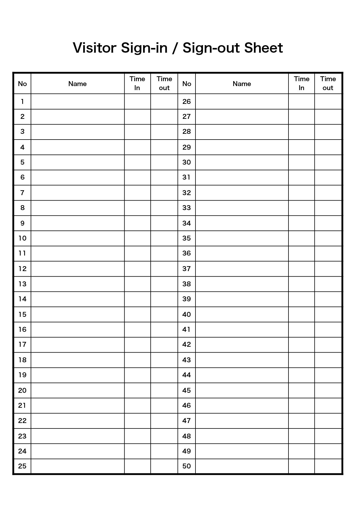 来訪者の受付 テンプレート(縦)/ 英語 Visitor Sign-in & Sign-out (エクセル,ナンバーズ)