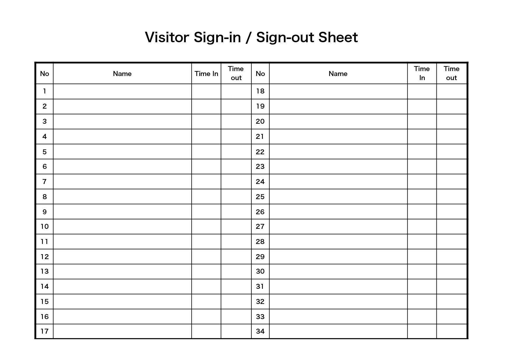 来客の受付 テンプレート(横)/ 英語 Visitor Sign-in & Sign-out (エクセル,ナンバーズ)