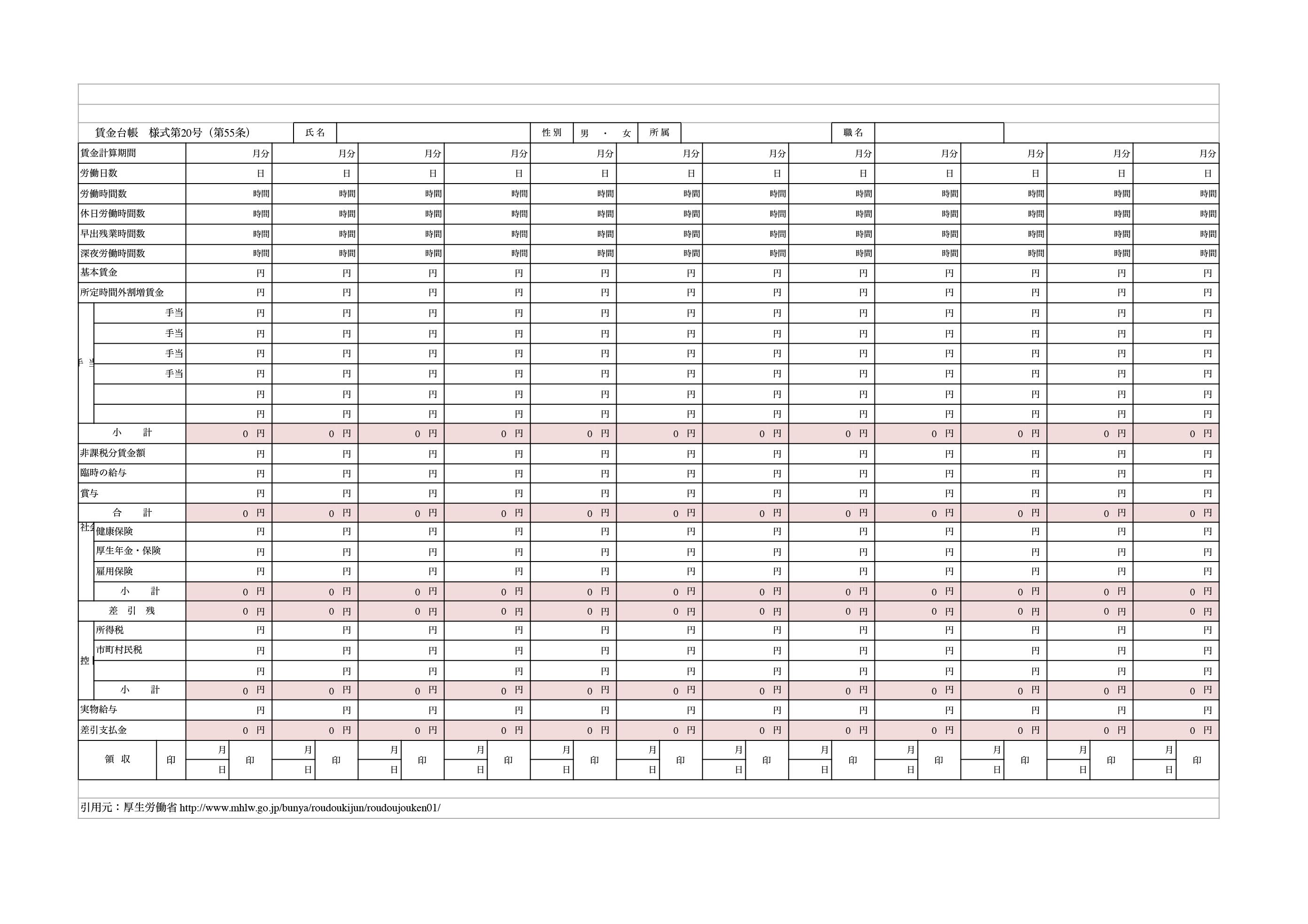 賃金台帳 テンプレート_厚生労働省(エクセル・ナンバーズ)