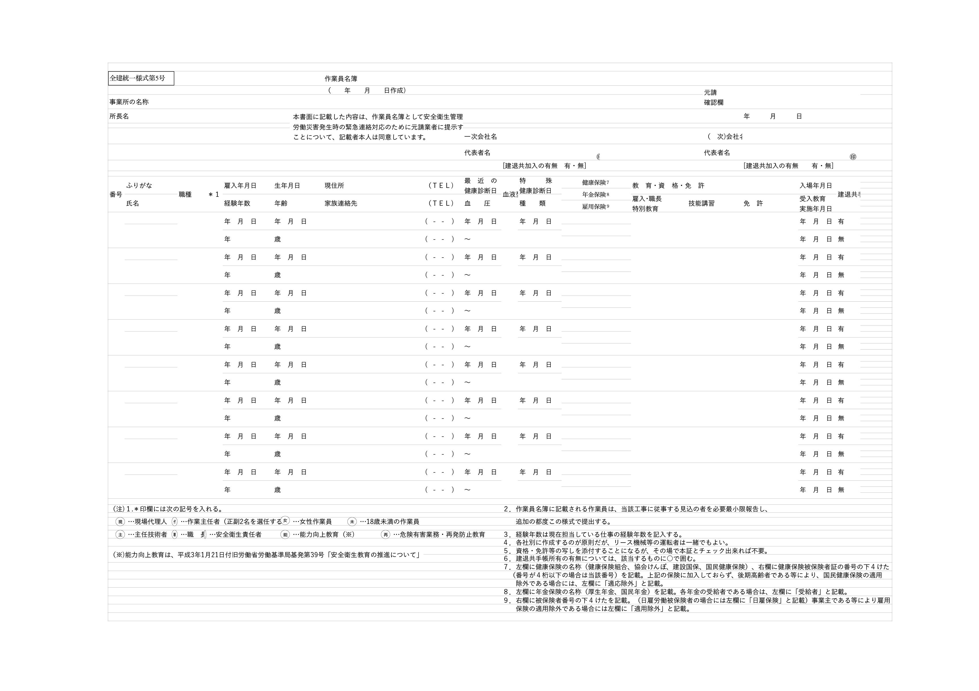 作業員名簿テンプレート(エクセル・ナンバーズ)