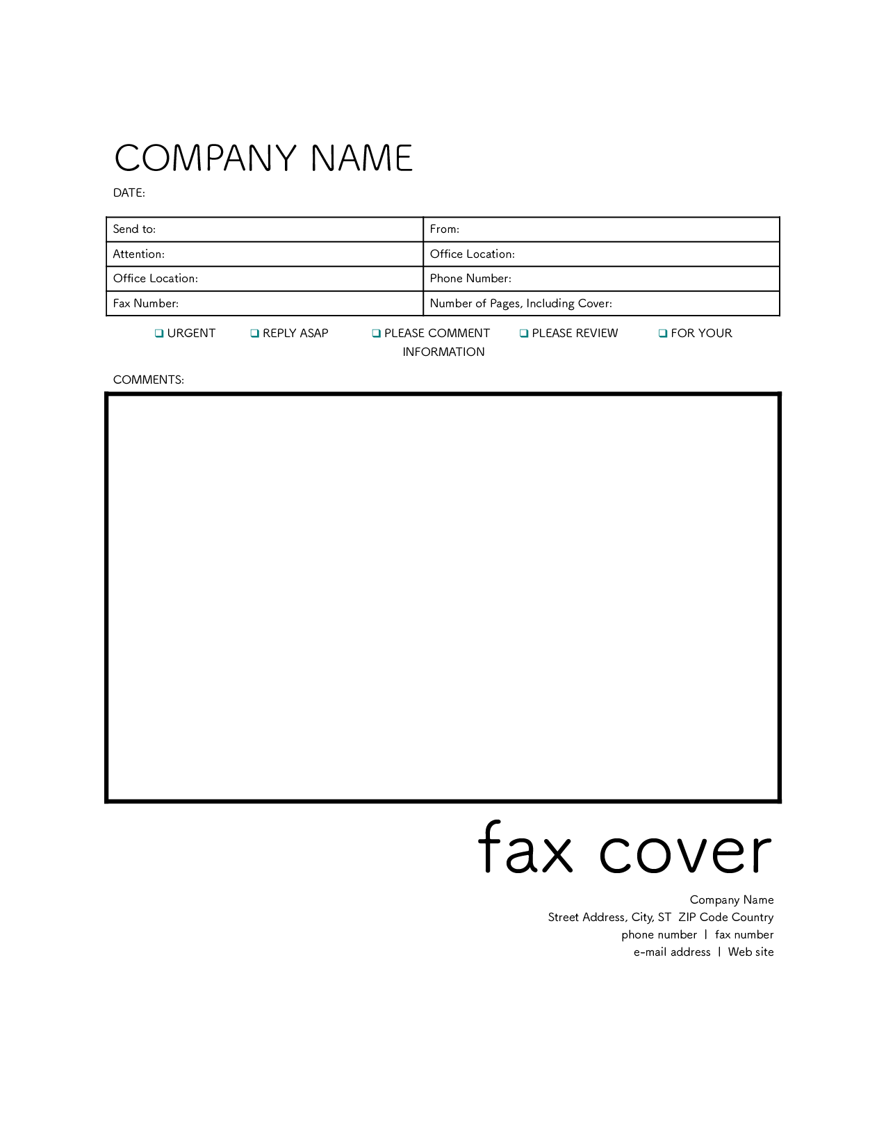 fax cover ファックス送付状 英語 のテンプレート おしゃれ ワード