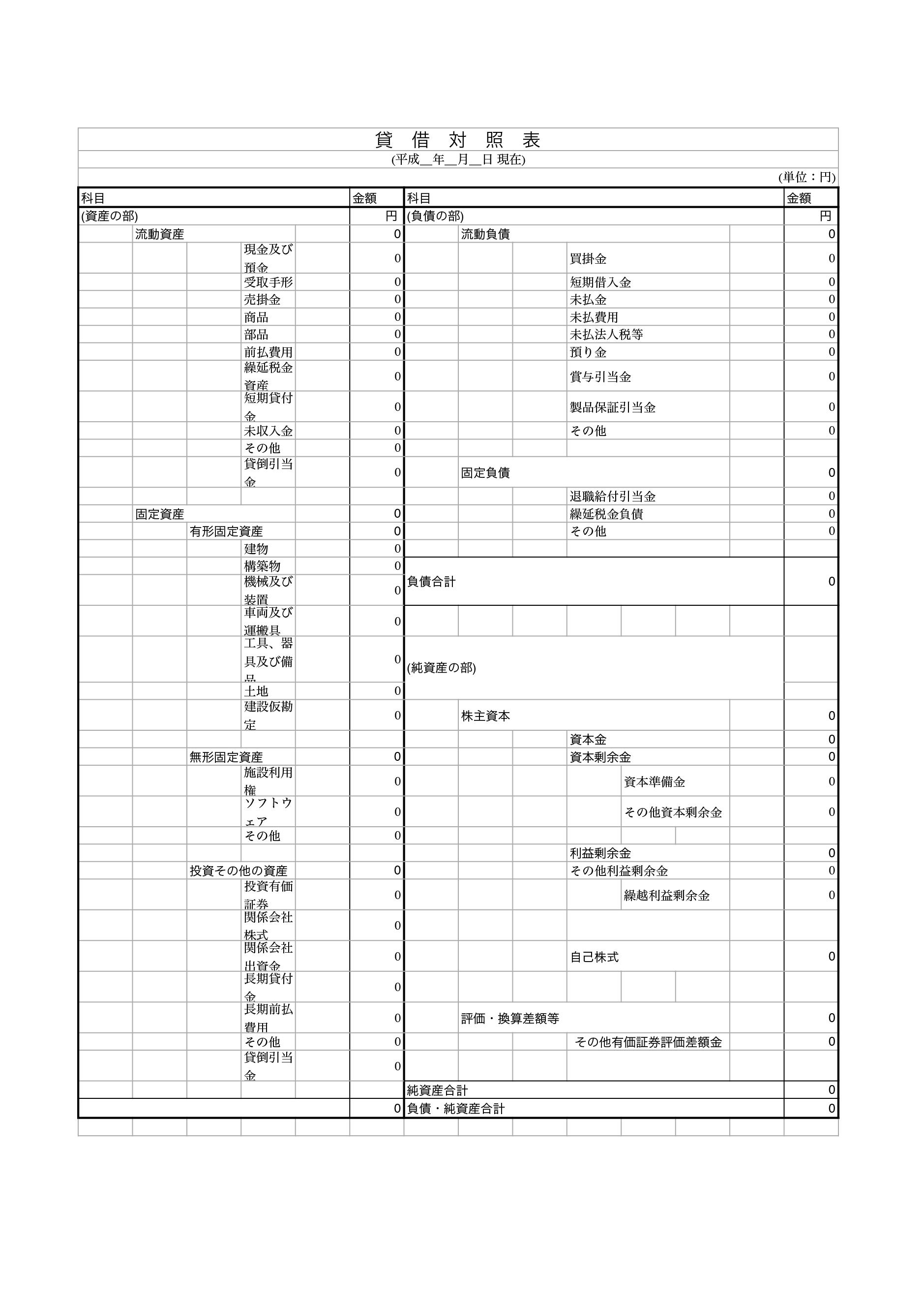 貸借対照表 テンプレート(エクセル・ナンバーズ)