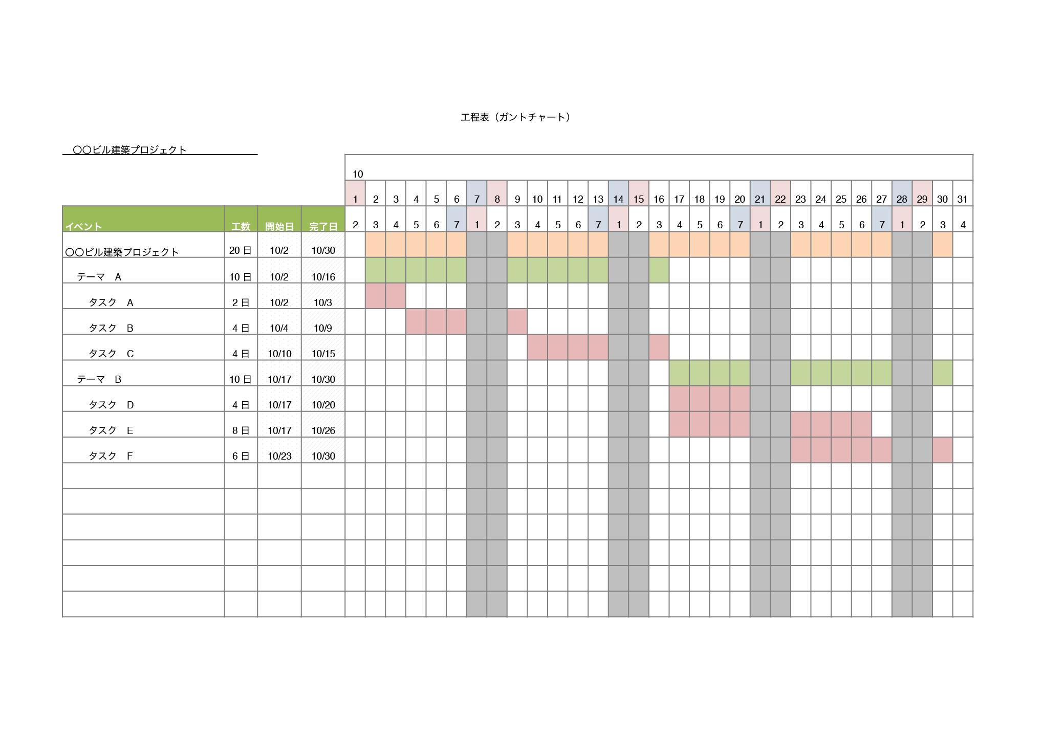 ガンチャート テンプレート『プロジェクト管理』(エクセル・ナンバーズ)