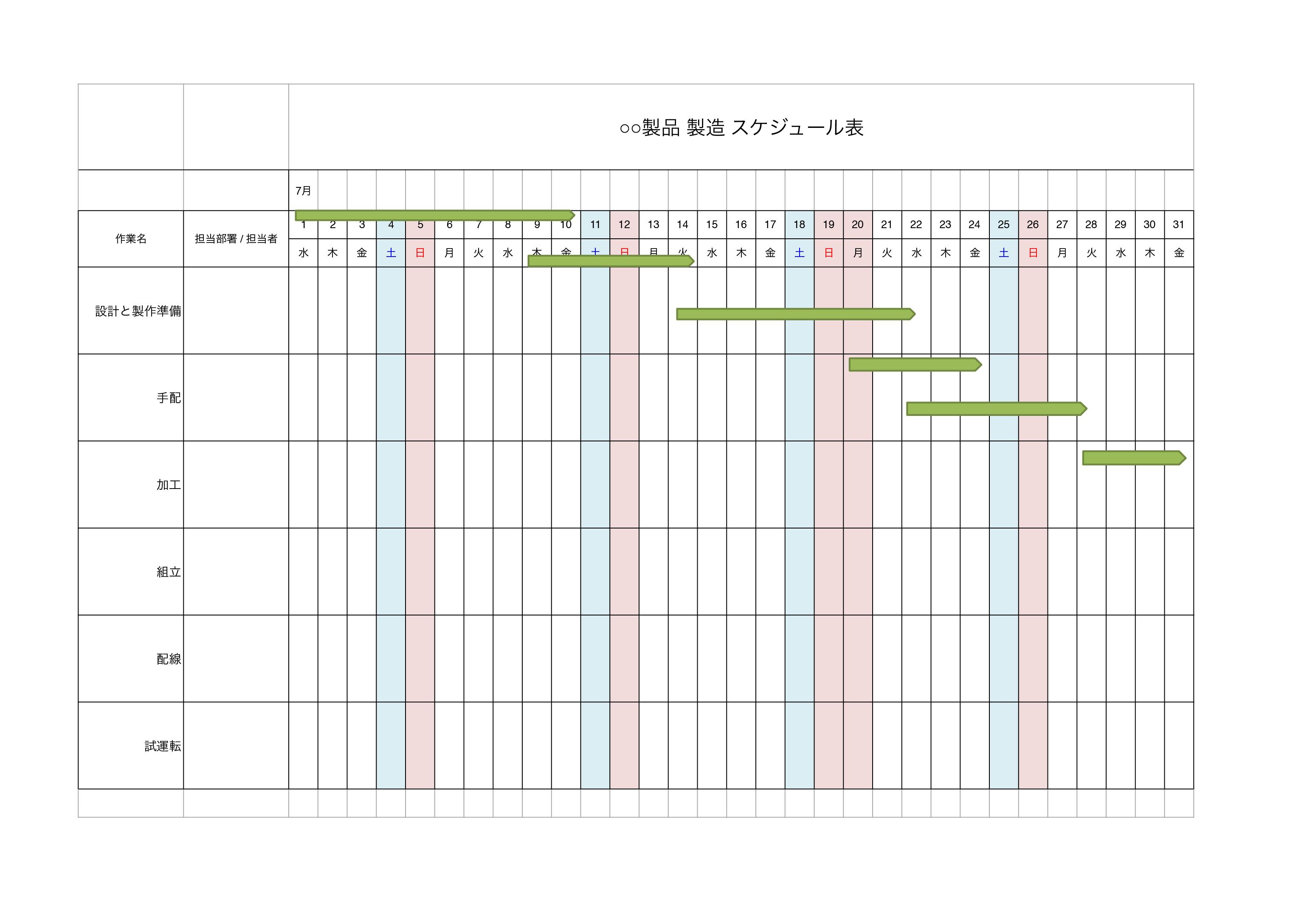 製品製造スケジュール テンプレート(エクセル・ナンバーズ)