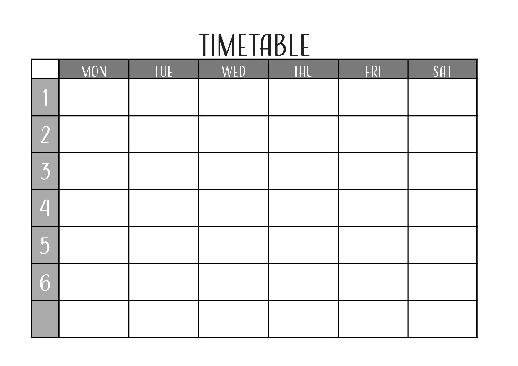 英語の時間割表テンプレート/エクセル・ナンバーズ