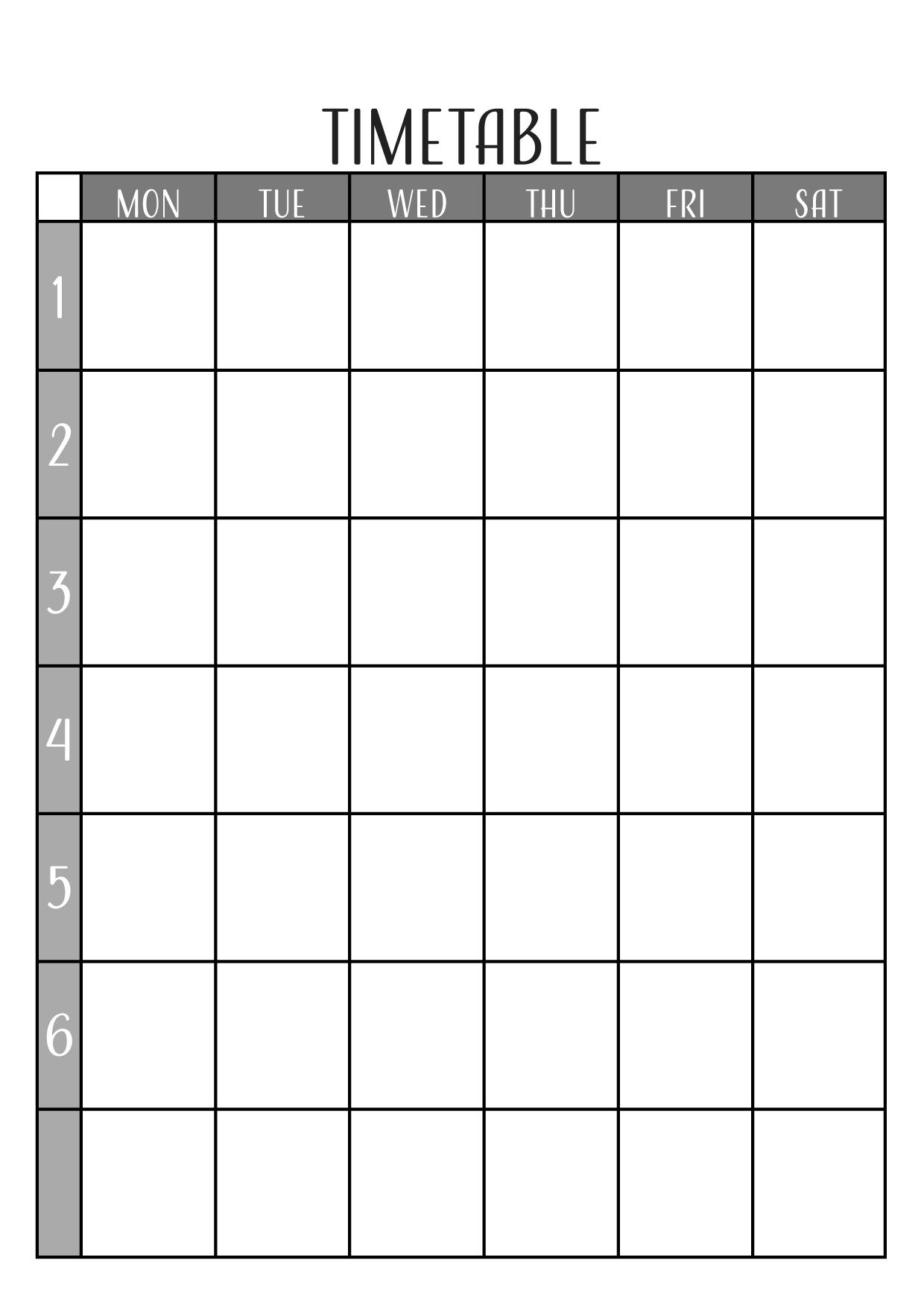 英語の時間割表テンプレート/縦型・エクセル・ナンバーズ