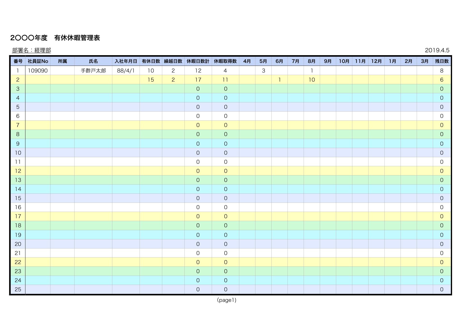 かんたん作成!有給休暇管理表テンプレート(エクセル・ナンバーズ)