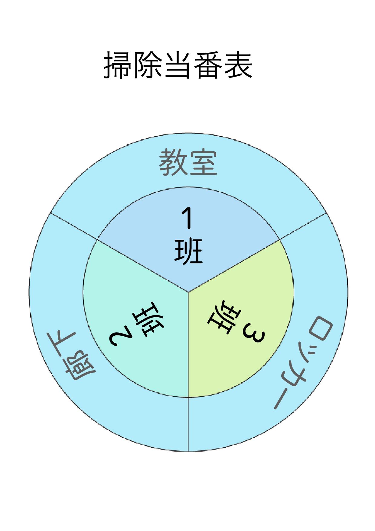 丸型の掃除当番表のテンプレート/エクセル・ナンバーズ